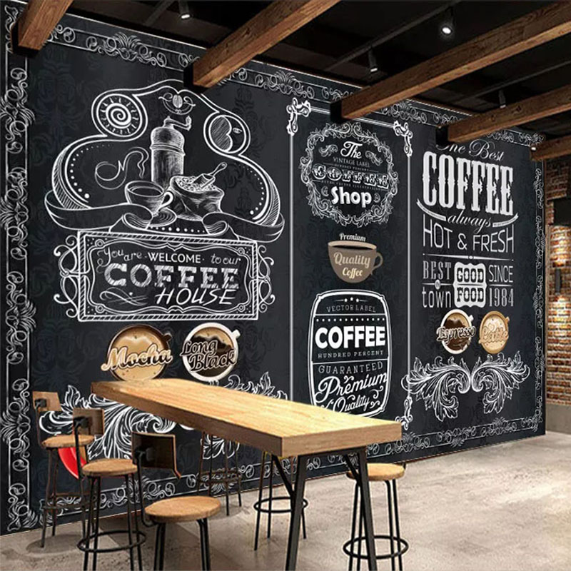 Custom Wallpaper 3D Retro Nostalgia Hand-painted Blackboard Coffee Shop Restaurant Background Wall Decor Papel De Parede Fresco