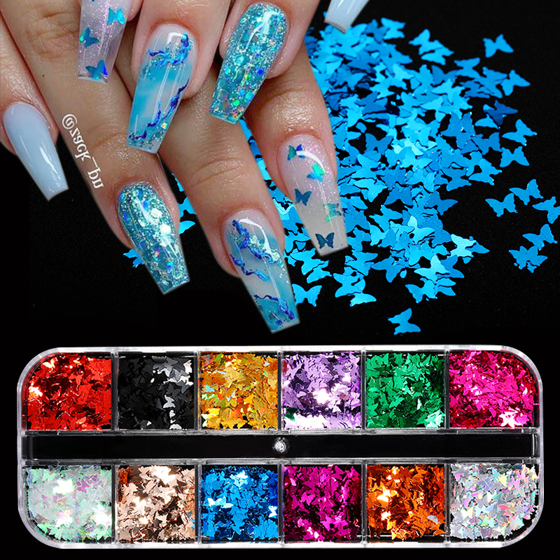 12 Grid/Set Silver Pink Nail Glitter Sequins Sparkly 3D Thin Butterfly Flakes Polish Decorations For Nail Art Accessories