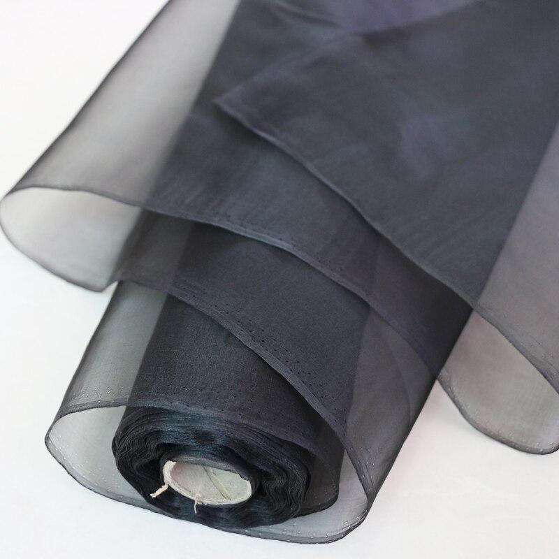 Atacado preto 100% mulberry seda organza tecido gaze tecido medidor