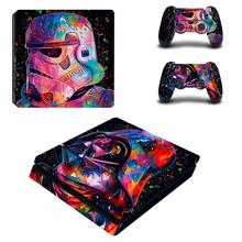 Star Wars Full Cover Faceplates PS4 Slim Skin Sticker Decal Vinyl for Playstation 4 Console & Controllers PS4 Slim Skin Sticker dharma design skin decal sticker for the playstation 3 ps3 slim console