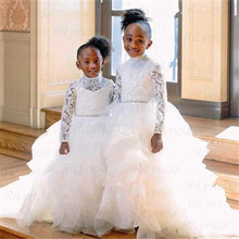 Dresses Wedding-Gowns Tulle Lace Flower-Girl Long-Sleeves Pageant-D White Little High