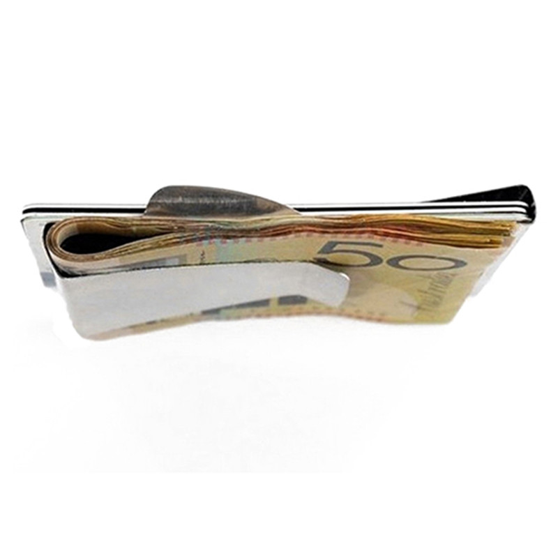 Slim Money Clip Double Sided Cash Credit Card Holder Wallet Stainless Steel