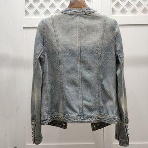 Image 2 - Kurtka dla kobiet wysokiej jakości 100% bawełny kurtka dżinsowa z długim rękawem płaszcz dżinsowy na zimę znosić 2019