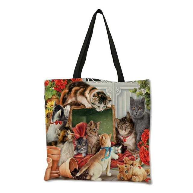 Oil Painting Cat Print Women Tote Bags Linen Reusable Shopping Bag Shoulder Bags for Women 2019  sac a main ladies handbags 3