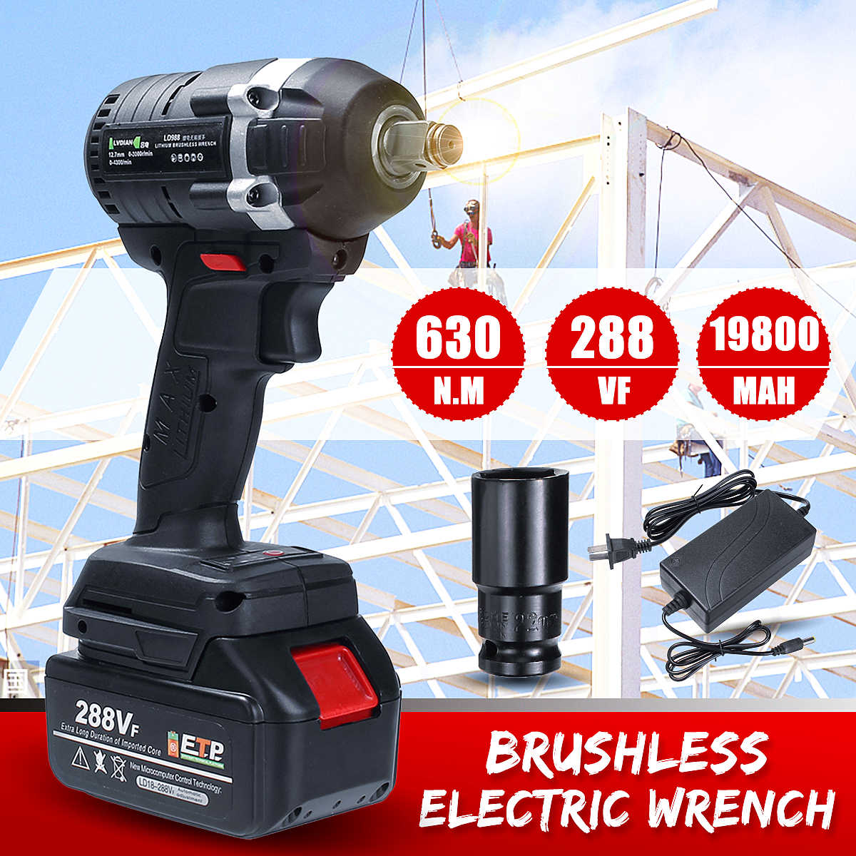 630N.m 288VF Cordless Electric Impact Wrench Electric Wrench Brush 1x Li-ion Battery Power Tools 110-240V