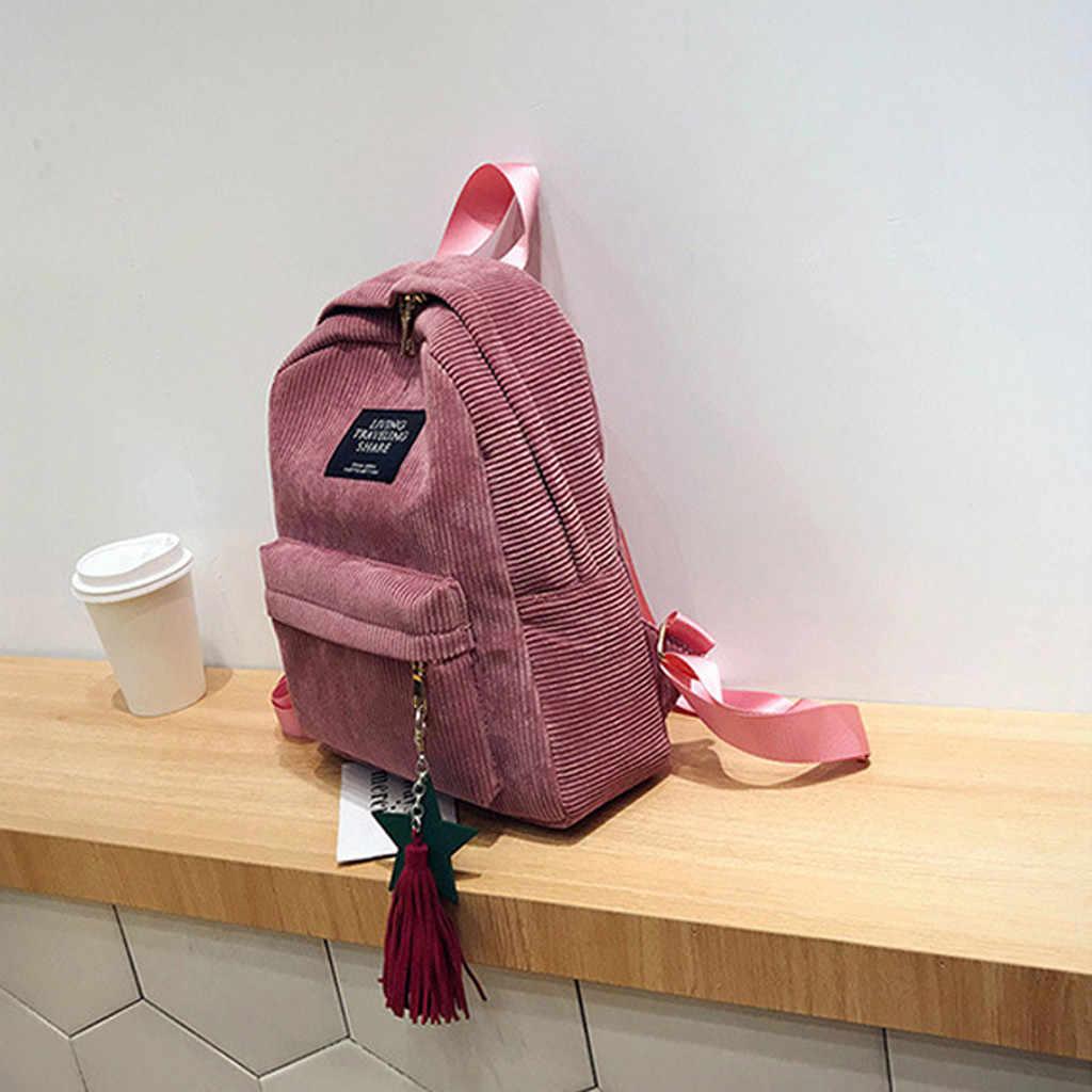 Donna zaini Semplice di Velluto A Coste femminile Zaini Campus Stile di Colore Puro Per Il Tempo Libero sacchetti di scuola per le ragazze adolescenti mochila feminina