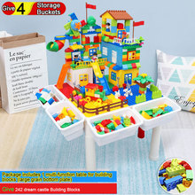 Multi-function Table for Building Blocks Give 242 Dream Castle 4 Storage Buckets Childrens Puzzle Study