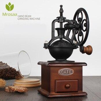 קלאסי עץ מטחנת קפה ידנית יד יצוק ברזל רטרו בעבודת יד קפה שעועית תבלינים מיני בר מיל מטחנות מטבח כלי