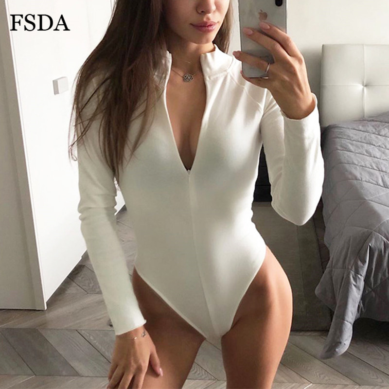FSDA Zip Up Women Long Sleeve White Sexy Bodysuit Black Autumn Winter Turtleneck Body Top Casual Lady Skinny Streetwear Bodysuit