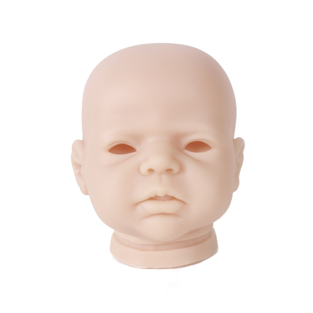 Unpainted Vinyl 20inch Reborn Sleeping Baby Boy Doll Head Sculpt DIY Accs #1