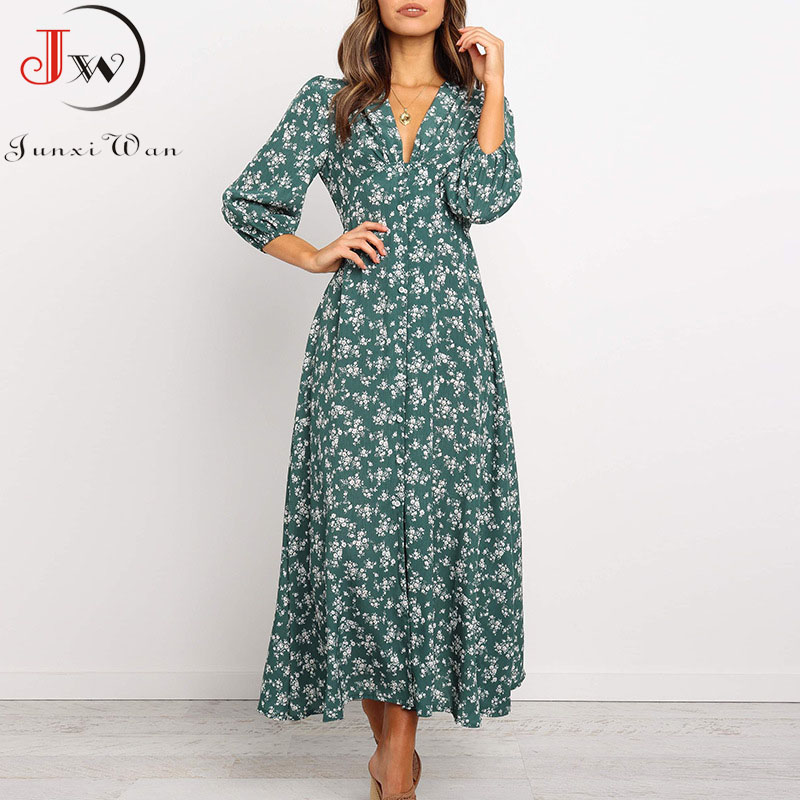 Women Chiffon Long Dress Floral Print Lantern Sleeve A-line Maxi Vestidos Autumn New Elegant Vintage V Neck Winter Dresses