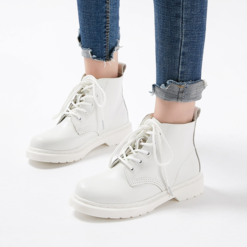 Women Ankle Boots Genuine leather Shoes Female Winter Autumn Women Boot White Casual Ladies Shoes botas