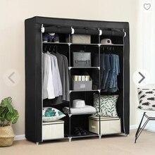Armario de tela para dormitorio, mueble de almacenamiento plegable, no tejido, portátil, resistente al agua, resistente al polvo, HWC