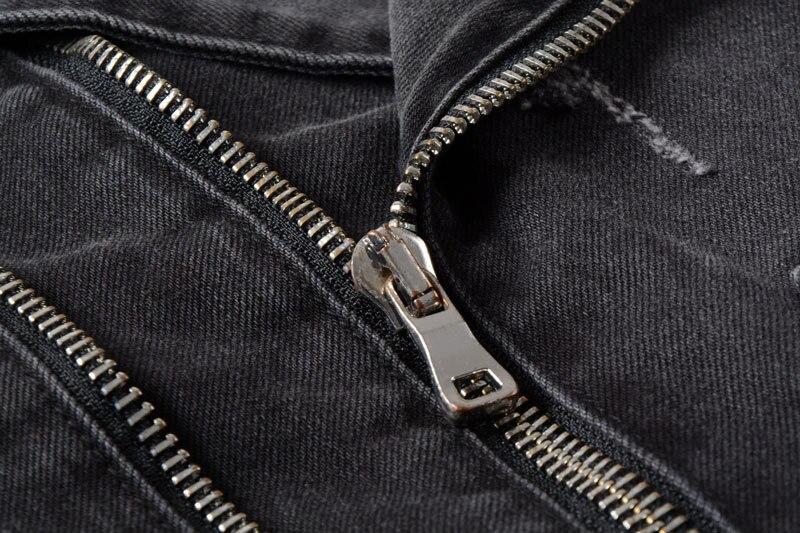 H406ea37a9c7849238019b0914e95793cp Uplzcoo New Fashion Biker Denim Jackets Men Black Hole Zippers Denim Coat Jackets Casual Men Clothing Casaco Masculino EM157