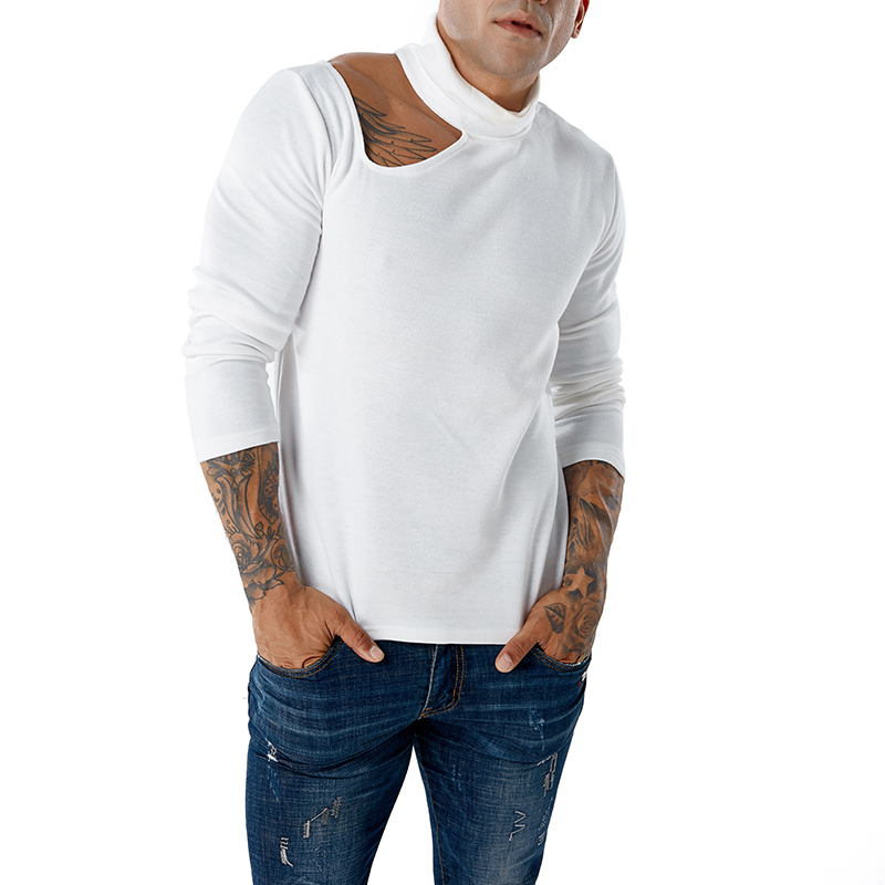 Mens Sweater 2019 New Solid Color Turtleneck And Off-the-shoulder Sexy Men's Pullover Sweater Sweater