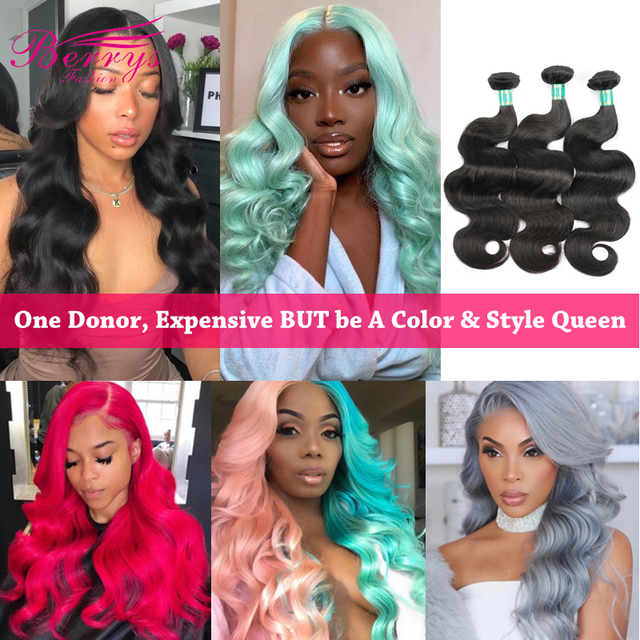 Berrys Fashion Body Wave حزم شعر طويلة 10 32 بوصة شعر عذراء برازيلي 3 حزم شعر بشري غير مُعالج لحمة