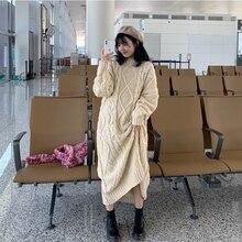 Осенне-зимнее женское Макси длинное платье-свитер размера плюс ropa mujer с длинным рукавом и О-образным вырезом свободного кроя Sukienki Pull Femme Ladies Jersey