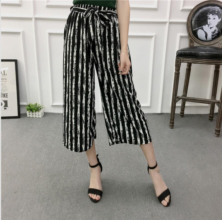 Sport Pants Women New Summer Wide Leg Pants Casual Loose High Elastic Waist Harem Pants Loose Belt Striped Elasticated Trousers