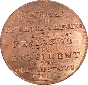 United States Of America 1792 Undated Washington Born Virginia Red Copper Copy Coin image