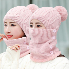 Winter Beanies Women Scarf Wool Knitted Hat Caps Mask Lady Warm Riding Windproof