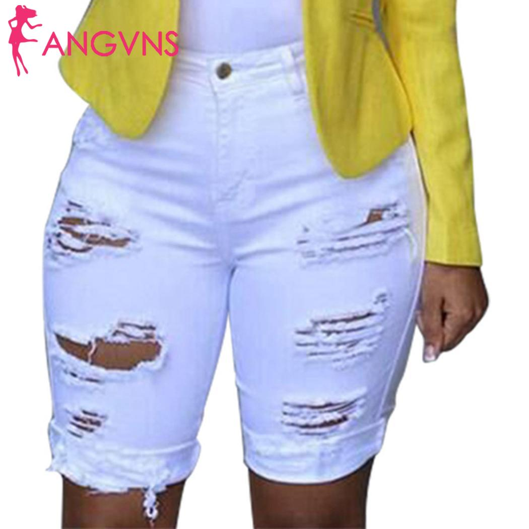 Women Casual Solid Hole Bleached Middle Casual, Etc Waist Zip, Button Mini Shorts Spring, Summer, Autumn Jeans