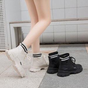 Image 4 - Giày Nữ Giày Nữ Người Phụ Nữ Zapatillas Mujer Cổ Mùa Đông Giày Boot Nữ Cao Cấp Hàng Đầu Bông Ấm Áp Giày Ngoài Trời Zapatos De Mujer Ren P