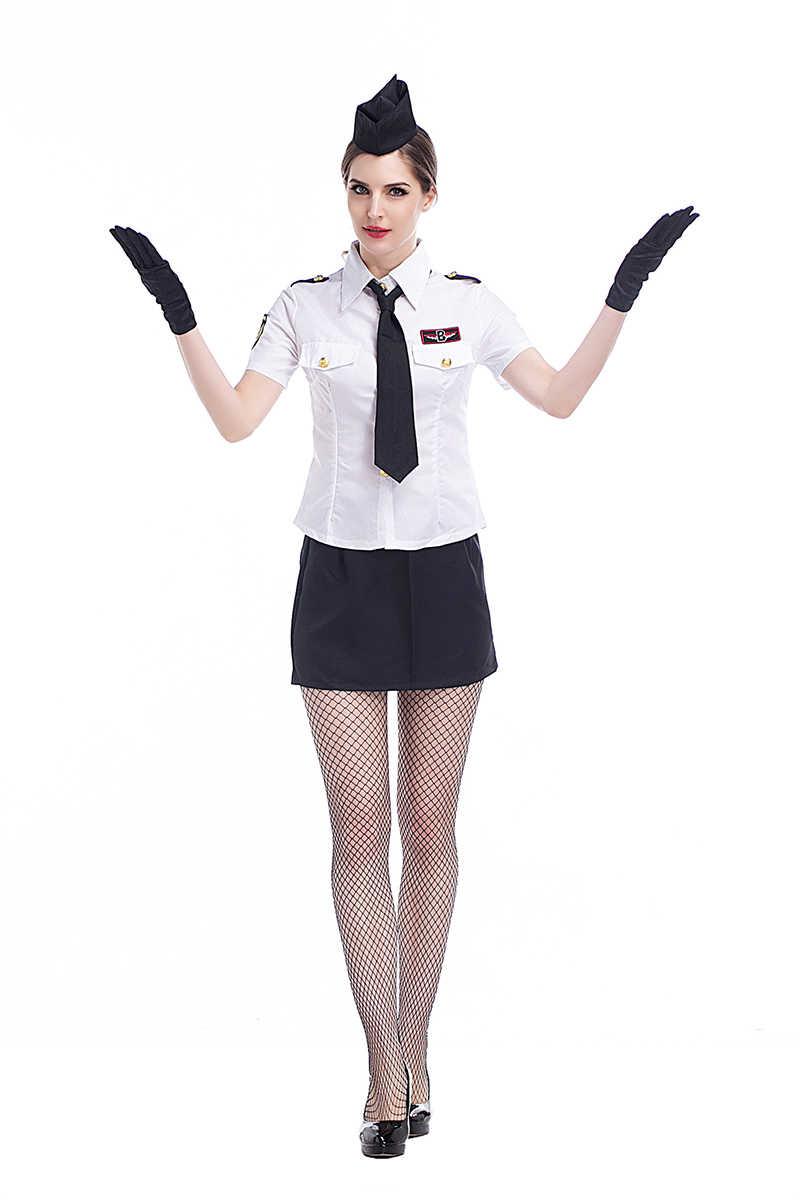 A Very Special Hostess Porn adult women sexy air hostess uniform flight stewardess costume navy shirt  shorts skirt attendant cosplay fancy outfit for girls