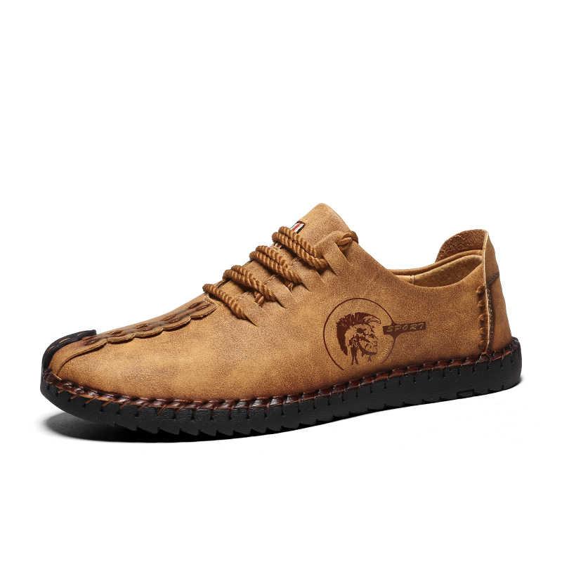 Mannen Casual Schoenen Lente Herfst Grote Maat Instappers Mode Lederen Schoenen Ouden Handtailor Schoeisel Jeugd Mannelijke Schoenen Met Jeans