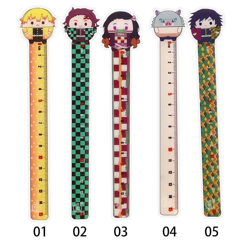 1 Pc Anime Demon Slayer: Kimetsu No Yaiba Kamado Tanjirou Cosplay Ruler Measuring Scale Students Cartoon Measure Ruler Gift