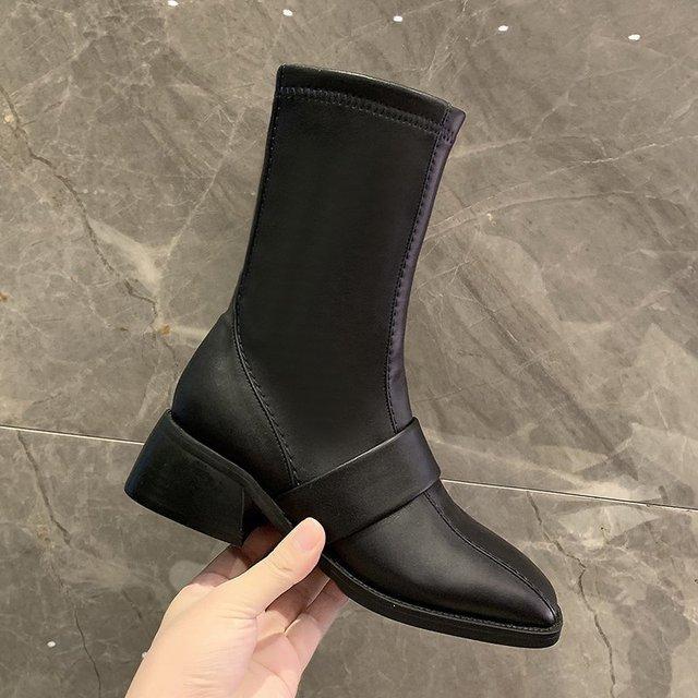 Купить 2020 winter fashion women boots casual zipper square heel ladies картинки цена