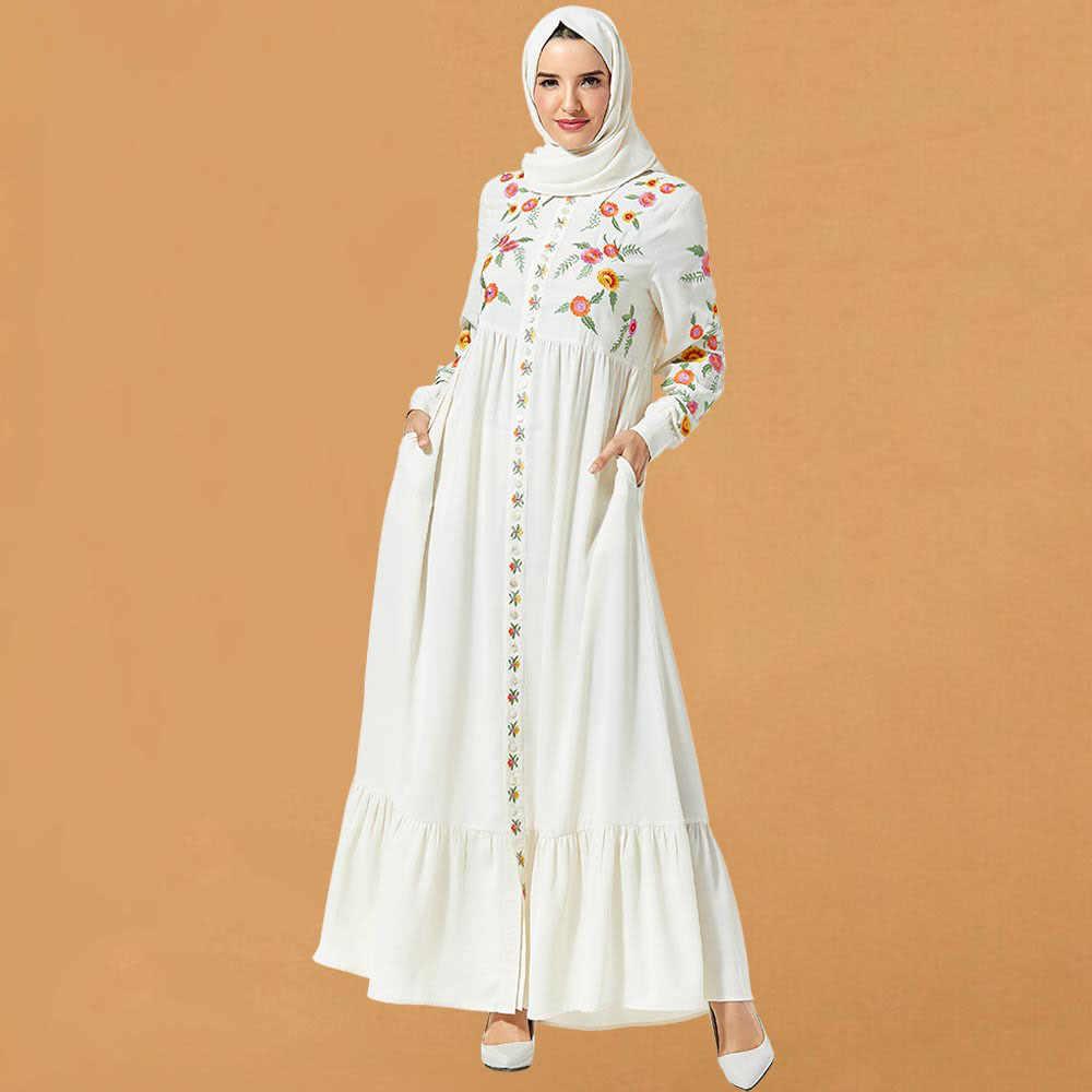 העבאיה דובאי האסלאמיים לא חיג 'אב נשים מוסלמיות שמלה לבן ערב המפלגה רקמת ערבי טורקיה קפטן קימונו חלוק סתיו 2019