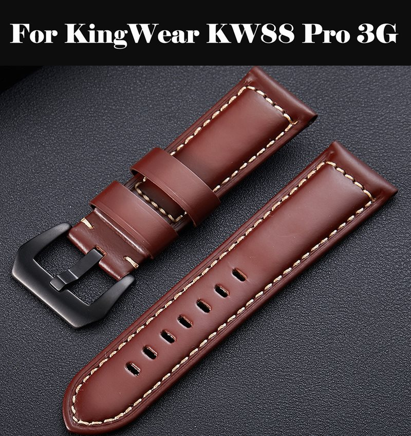 <font><b>Watch</b></font> <font><b>Band</b></font> Genuine Leather Straps 10-24mm <font><b>Watch</b></font> Accessories High Quality Brown Colors Watchbands For KingWear <font><b>KW88</b></font> Pro 3G image