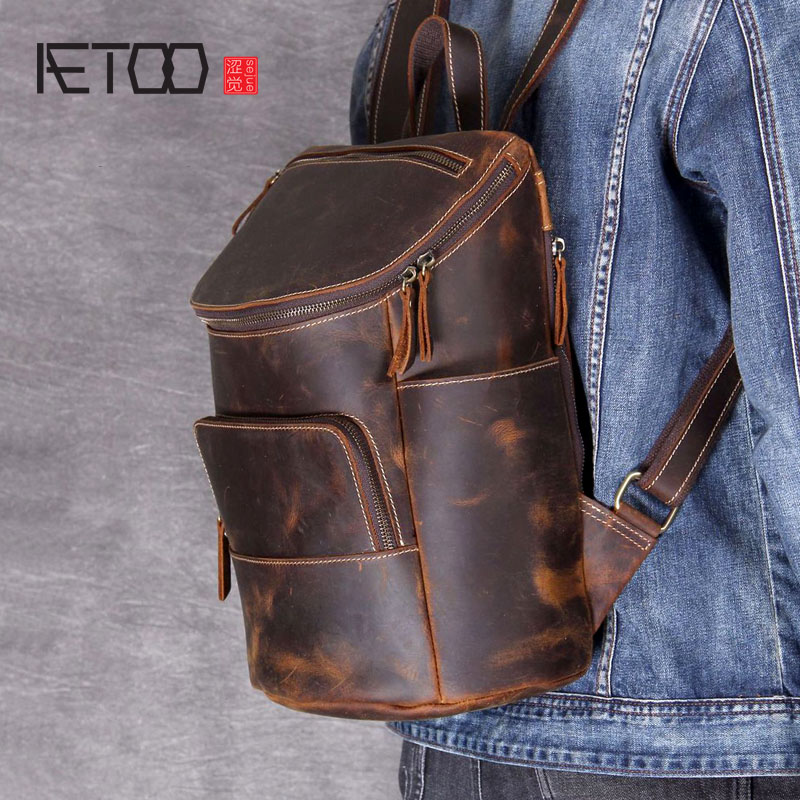 AETOO Retro Mad Horse Leather Shoulder Bag Male And Female Leather Backpack Handmade Head Cowhide Hundred Backpack