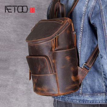 AETOO Retro Mad horse leather shoulder bag male and female leather backpack handmade head cowhide hundred backpack цена 2017