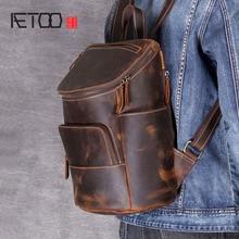 AETOO レトロなマッド馬革のショルダーバッグの男性と女性の革のバック手作りヘッド牛革百バックパック