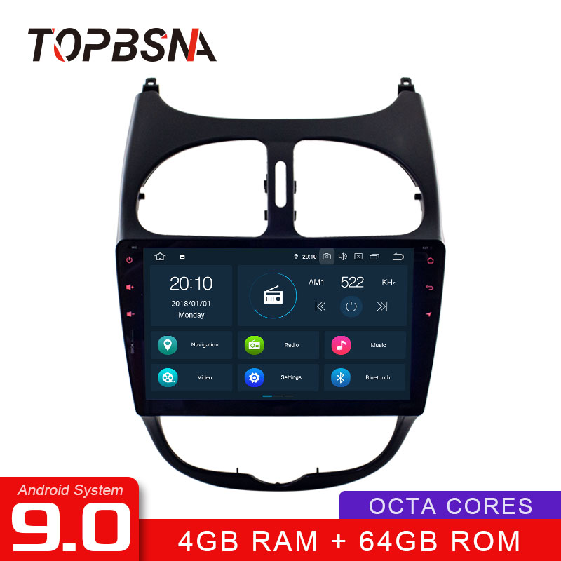 TOPBSNA Android 9.0 1 <font><b>Din</b></font> Car Radio For <font><b>Peugeot</b></font> <font><b>206</b></font> WIFI Multimedia GPS Navigation Stereo Car DVD RDS Headunit Auto RDS IPS DSP image