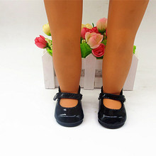 2019 Fashion Black Leather Shoes New Born Baby Doll Shoes for 18