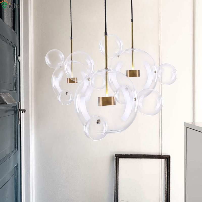 Modern Glass Bubble Chandeliers Lighting Dining Room Kitchen Island Copper Metal Led Chandelier Lamp Living Room Hanging Lights