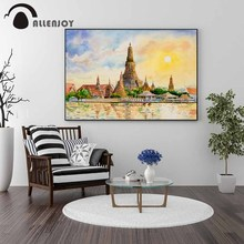 Allenjoy Thailand Wall Pictures Bangkok Famous Attractions Lakes Oil Paintings Watercolor Cities Abstract Landscape Poster Mural pongsit kamphee bangkok