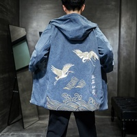 Traditional Chinese Blouse Male Shanghai Tang Clothes Crane Print Hoodie Zipper Chinese Jacket Oriental Clothes Men KK2962