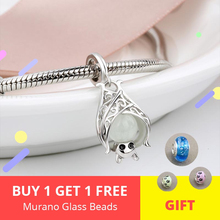 Silver Galaxy Glowing Bat Pendant Beads For Women Bracelet Fit pandora Charms 925 Original Fashion DIY Jewelry Gifts