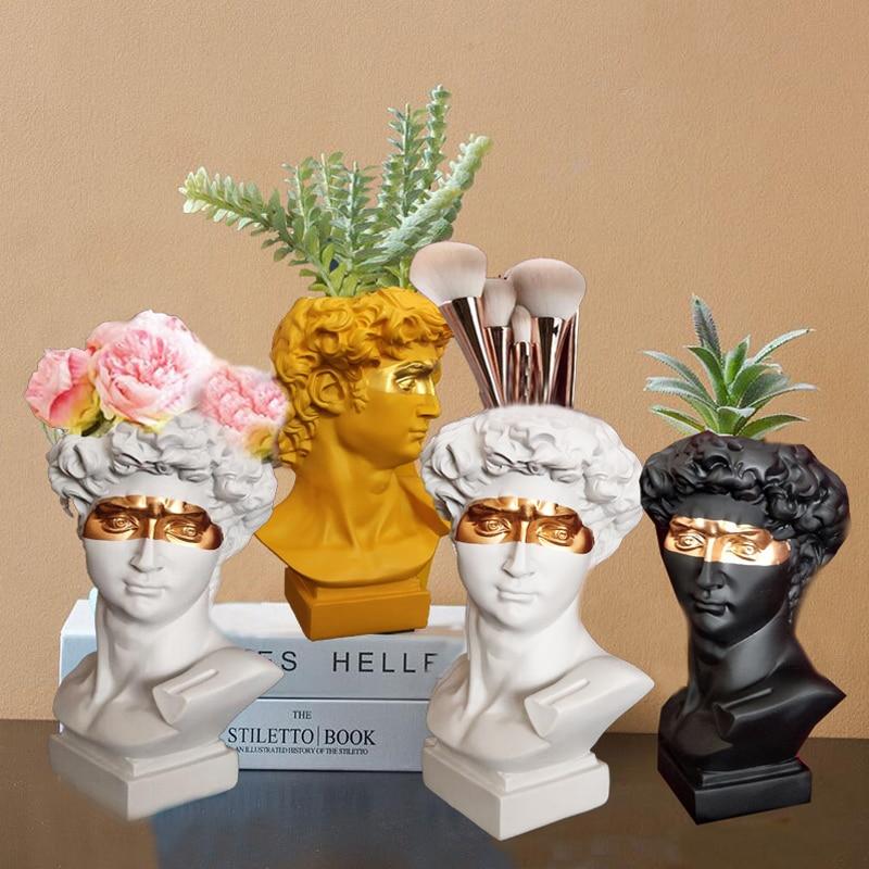Northern Europe Resin Vase Home Decoration Flower Pot  Pen Holder Makeup Brush Holder Storage Box European Head Sculpture Model