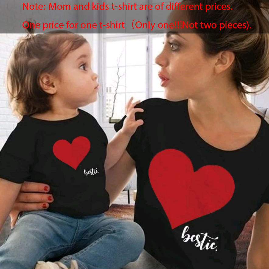 Gourd Doll/одежда «Мама и я» одинаковые комплекты для семьи для мамы и дочки футболка мягкие хлопковые топы с принтом сердца для мамы и ребенка - Цвет: black red