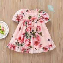 Весеннее милое платье с короткими рукавами и цветочным принтом для маленьких девочек 0-24 месяцев праздничное платье принцессы для девочек