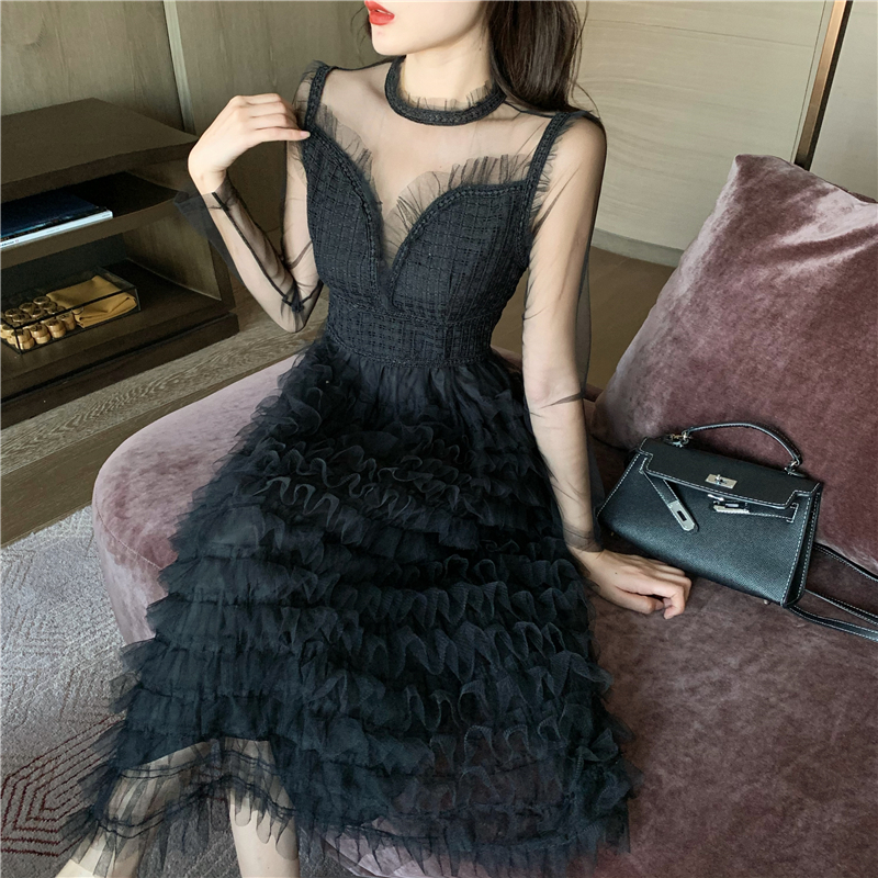 EAD 2020 spring new style French mesh dress female Korean retro temperament <font><b>sexy</b></font> lace stitching long sleeve black dress <font><b>S</b></font> / M image