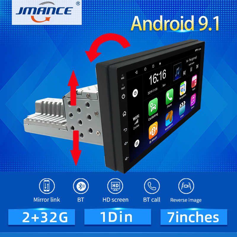 JMANCE 1DIN FM 7 Inch Adjustable Mobil Stereo Radio Android 9.1 Hubungi Layar 1080P Mobil Radio Player Quad-core GPS Navigasi