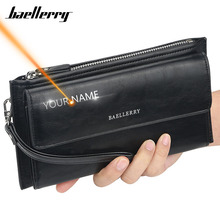 2020 New Men Wallets Long Name Engraving Card Holder Male Purse High Quality Zip