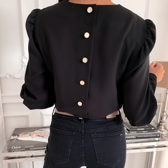 2021 Spring Autumn O Neck Ruffle Solid Shirts Elegant Office Lady Back Metal Buttons Blouses Casual Women Long Sleeve Chic Tops 1