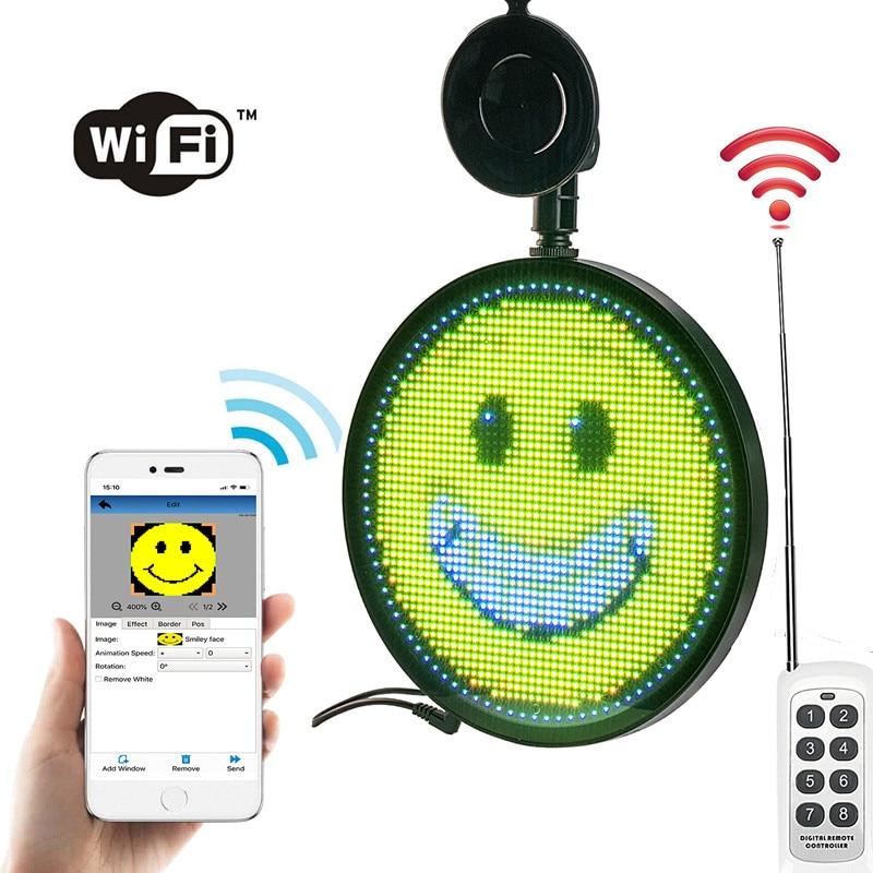 12v 24v wifi preset 8message remote control DIY Car sign led emjoy scroll message display board + cigarette lighter power supply|diy led sign|led sign|led car rear window - title=