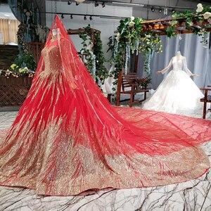 Image 3 - HTL795 moslim trouwjurk met bruidssluier kralen patroon hoge hals lange mouwen gouden kant wedding gown red vestido novia